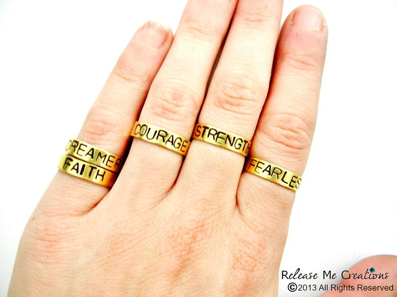 Positive Mantra Rings Fearless Courage Strength Faith Dreamer - product image