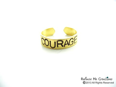 Positive,Mantra,Rings,Fearless,Courage,Strength,Faith,Dreamer,RING, GOLD, BRASS, STAMPED, PERSONALIZED, STACKING, release me creations, fearless, dreamer, faith, strength, courage, personalized, customizable
