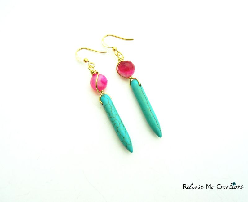 Pink Agate Turquoise Blue Spike Earrings - product image