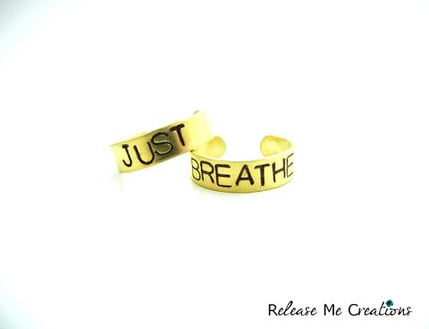 Just,Breathe,Gold,Brass,Knuckle,Rings,just breathe, positive mantra, healing, brass, stamped, knuckle ring