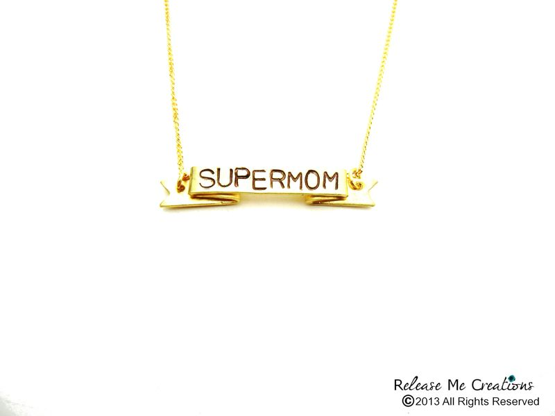 Supermom Stamped Banner Necklace Mothers Day Gift Personalized Customizable - product image