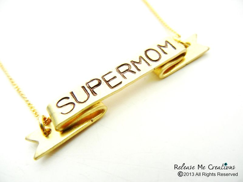 Supermom Stamped Banner Necklace Mothers Day Gift Personalized Customizable Product Image