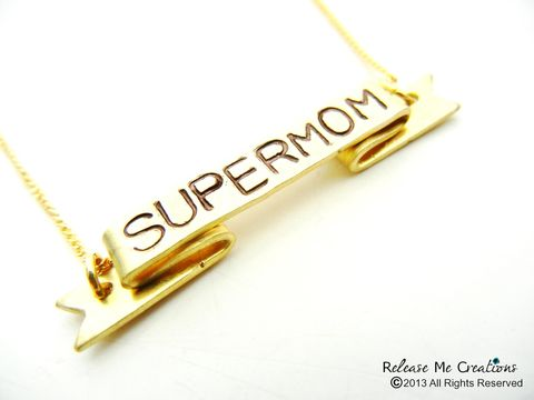 Supermom,Stamped,Banner,Necklace,Mothers,Day,Gift,Personalized,Customizable,mothers day gift, mom necklace, necklace for mom, stamped, custom jewelry