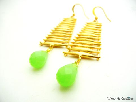 Ascension,Earrings,Green,Chalcedony,Matte,Gold,Steps,chalcedony, matte gold, earrings, heaven, angel, ascension, gift, for her, fashion, dangle, statement