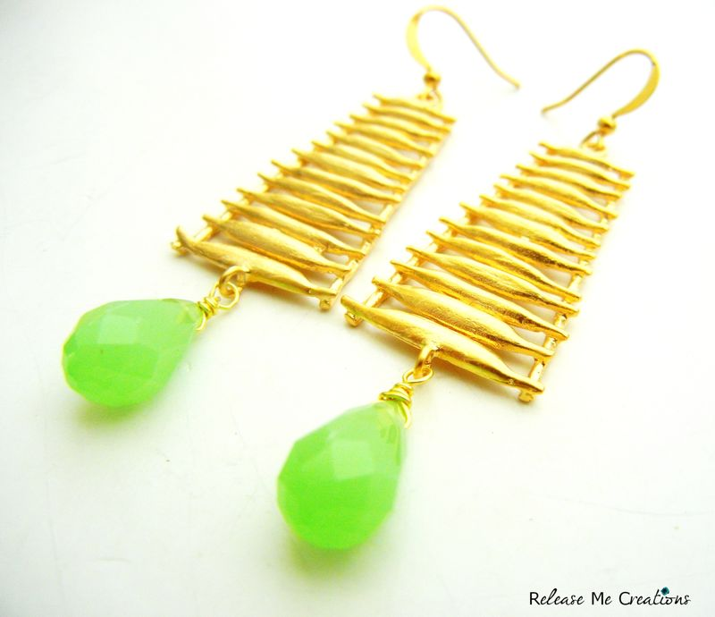 Ascension Earrings Green Chalcedony Matte Gold Steps - product image