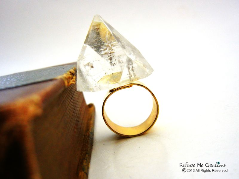 Apophyllite Crystal Fortress Ring 24k Hammered Gold - product image