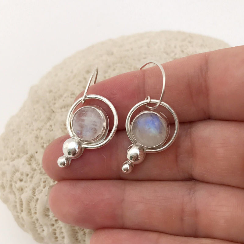 Rainbow Moonstone Earrings Sterling Silver Blue Flash - product images  of