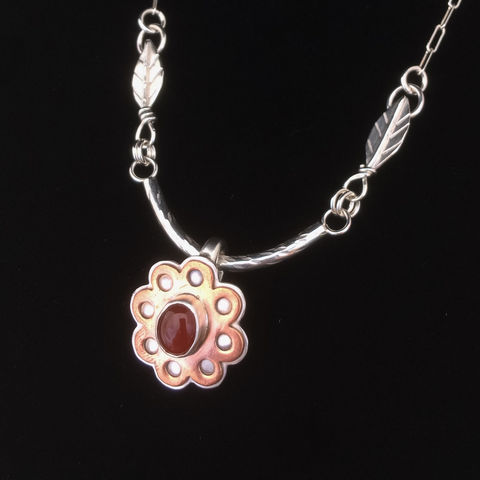 Mixed,Metal,Flower,Necklace,Carnelian,Sterling,Silver,and,Copper,Bib,mixed metal flower necklace, carnelian sterling silver, silver and copper statement necklace