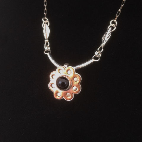 Mixed,Metal,Flower,Necklace,Onyx,Sterling,Silver,and,Copper,Statement,mixed metal flower necklace, onyx sterling silver, silver and copper statement necklace