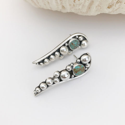 Long,Turquoise,Post,Earrings,Silver,Pebbles,Artisan,Silversmith,Long turquoise post earrings, silversmith turquoise earrings, hand fabricated turquoise earrings
