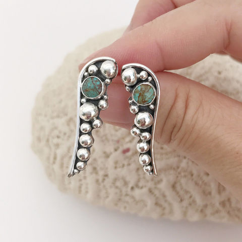 Long Turquoise Post Earrings Silver Pebbles Artisan Silversmith - product images  of