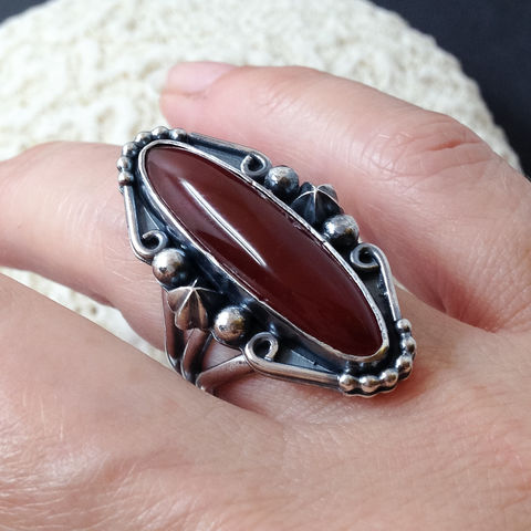 Red Chalcedony Ring Sterling Silver Size 7 Star Design On Reverse - product images  of
