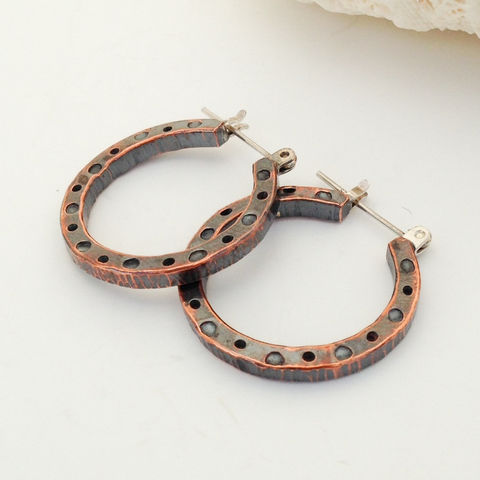 Hammered,Copper,Hoop,Earrings,Mixed,Metal,Boho,Chic,Artisan,Handcrafted,Hammered copper hoop earrings, mixed metal boho chic earrings, copper and Sterling hoops, bohemian copper hoops