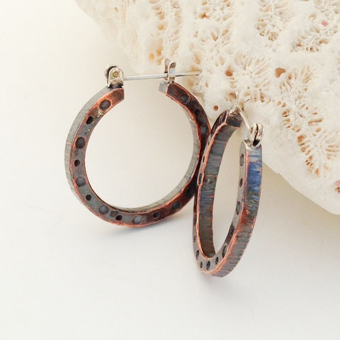 Hammered Copper Hoop Earrings Mixed Metal Boho Chic Artisan Handcrafted - product images  of