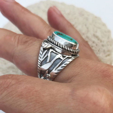 Artisan,Egret,Bird,Ring,Sterling,Cigar,Band,Style,Size,8,1/4,artisan bird ring, egret bird jewelry, bird lover, bohemian cigar band ring, boho chic statement ring, silversmith bird