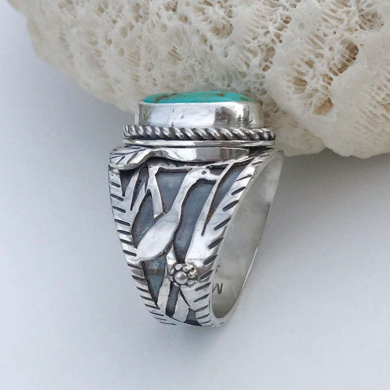 Artisan Egret Bird Ring Sterling Cigar Band Style Size 8 1/4  - product images  of