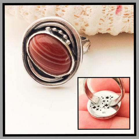 Striped,Carnelian,Ring,Size,7,1/2,Star,Design,on,Reverse,Sterling,Silver,Striped carnelian ring, red star ring, Sterling silver star jewelry, patriotic ring, carnelian silversmith ring