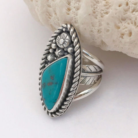 Turquoise,Flower,Ring,Size,6,1/4,Sterling,Silver,Wide,Band,Artisan,turquoise flower ring, hand fabricated silver jewelry, silversmith turquoise ring, artisan turquoise ring
