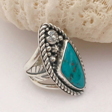 Turquoise Flower Ring Size 6 1/4 Sterling Silver Wide Band Artisan Ring - product images  of