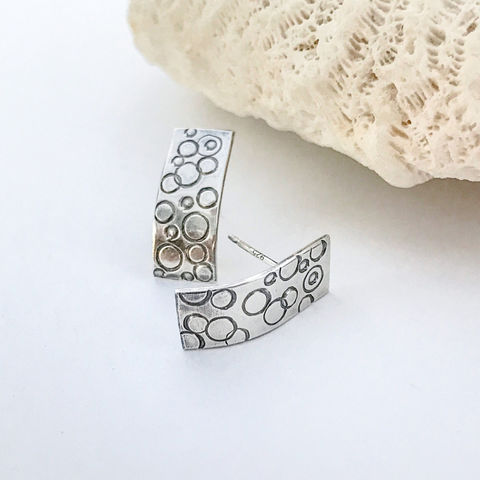 Sterling,Silver,Bar,Earrings,Hand,Stamped,Circle,Pattern,sterling silver bar earrings, hand stamped sterling studs, dot pattern earrings,