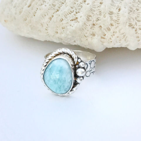 Larimar,Ring,Sterling,Silver,Hand,Stamped,Size,8,Wide,Band,sterling silver larimar ring, size 8 silversmith ring, hand stamped wide band ring, light blue stone ring