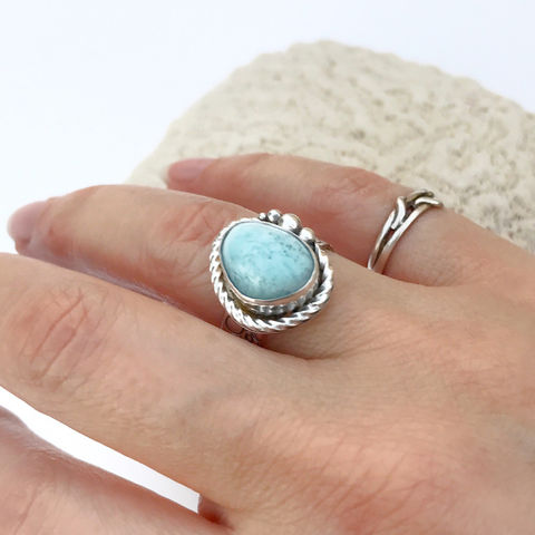 Larimar Ring Sterling Silver Hand Stamped Size 8 Wide Band - product images  of