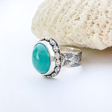 Turquoise,Flower,Ring,Size,6,3/4,,Sterling,Silver,Leaf,Pattern,Wide,Band,turquoise flower ring, sterling silver wide band, hand stamped leaf ring