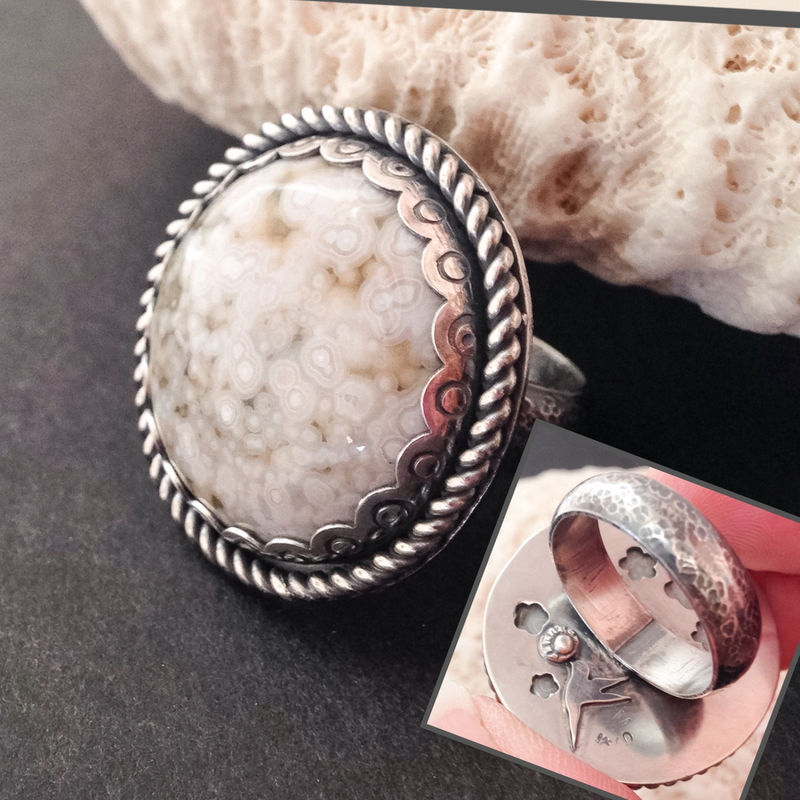 Ocean Jasper Ring Size 8 White Stone Hummingbird Flowers Big Ring - product images  of