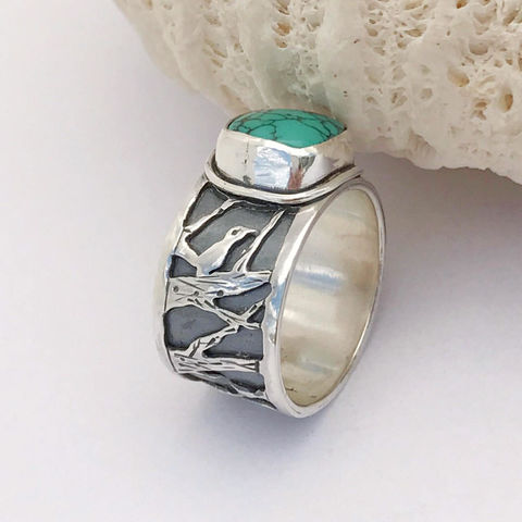 Hubei,Turquoise,Sterling,Silver,Bird,Ring,Artisan,Wide,Band,Size,8,hubei turquoise silversmith ring, Sterling silver bird jewelry, December birthstone, artisan silversmith bird ring, hand fabricated bird ring