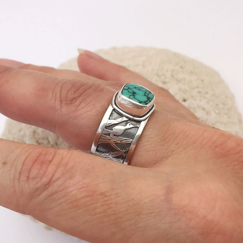 Hubei Turquoise Sterling Silver Bird Ring Artisan Wide Band Size 8  - product images  of