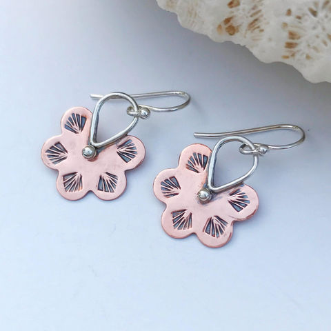 Mixed,Metal,Flower,Earrings,Hand,Stamped,Copper,Bohemian,Dangles,mixed metal flower earrings, hand stamped copper, bohemian dangles