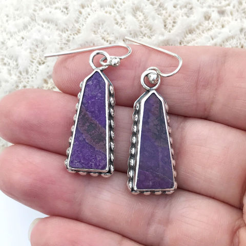 Sugilite,Earrings,Purple,Dangles,Artisan,Sterling,Silver,sugalite earrings, purple sterling silver dangles, artisan silversmith