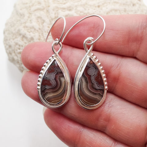 Brown Crazy Lace Agate Earrings Sterling Silver Dangles - product images  of
