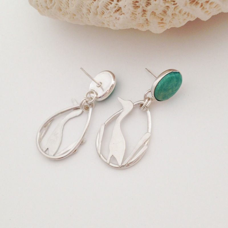 Sterling Silver Heron Earrings Artisan Turquoise Bird Dangles - product images  of