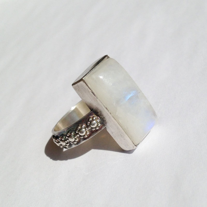 Rainbow Moonstone Ring Size 7 1/2 Rectangle Stone Silversmith Flower Band - product images  of