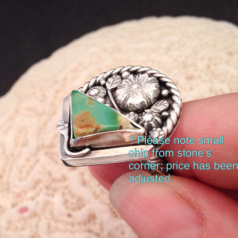 Royston Turquoise Ring Size 8 1/4 Sterling Silver Artisan Flower Basket  - product images  of
