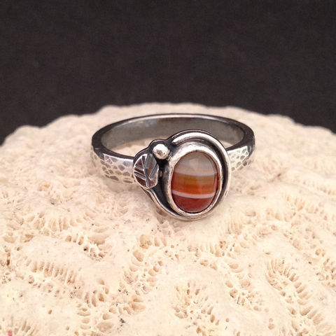 Red,Striped,Carnelian,Stacking,Ring,Size,6,3/4,Sterling,Leaf,Design,Red carnelian stacking ring, Sterling silver leaf jewelry, silversmith carnelian ring, hand fabricated sterling jewelry