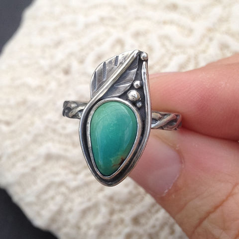 Carico Lake Turquoise Stacking Ring Sterling Silver Leaf  - product images  of