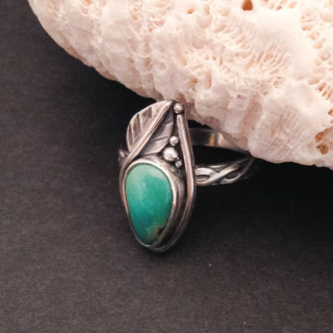 Carico,Lake,Turquoise,Stacking,Ring,Sterling,Silver,Leaf,carico lake turquoise ring, turquoise stacking ring, artisan sterling silver jewelry