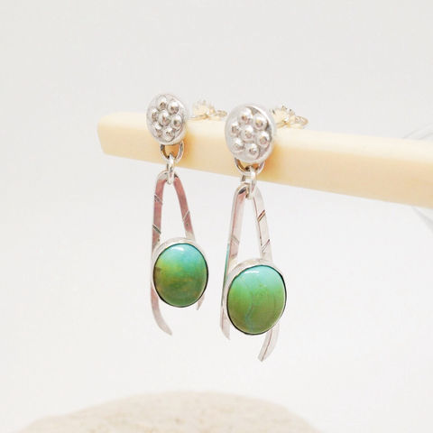 Modern Turquoise Earrings, Handmade Sterling Silver Dangles - product images  of