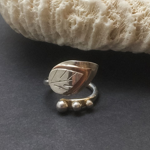 Copper,and,Sterling,Leaf,Design,By,Pass,Ring,Size,6,1/2,Copper and Sterling leaf ring, adjustable by pass ring, leaf wrap ring, mixed metal statement ring