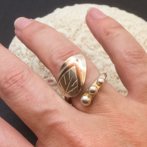 Copper and Sterling Leaf Design By Pass Ring Size 6 1/2  - product images  of