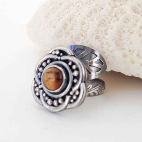Adjustable Tigers Eye Ring Sterling Silver Size 7 - 8 1/2 Leaf and Flower - product images  of