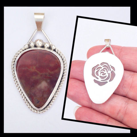 Red,Jasper,Sterling,Silver,Reversible,Floral,Pendant,red Jasper Sterling silver pendant, rose flower jewelry, silversmith floral necklace, red rose gift
