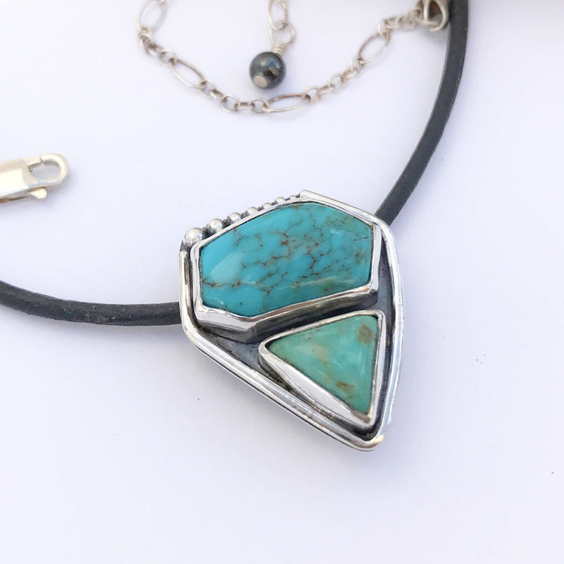 Dual Stone Turquoise Necklace Sterling Silver Contemporary Pendant  - product images  of