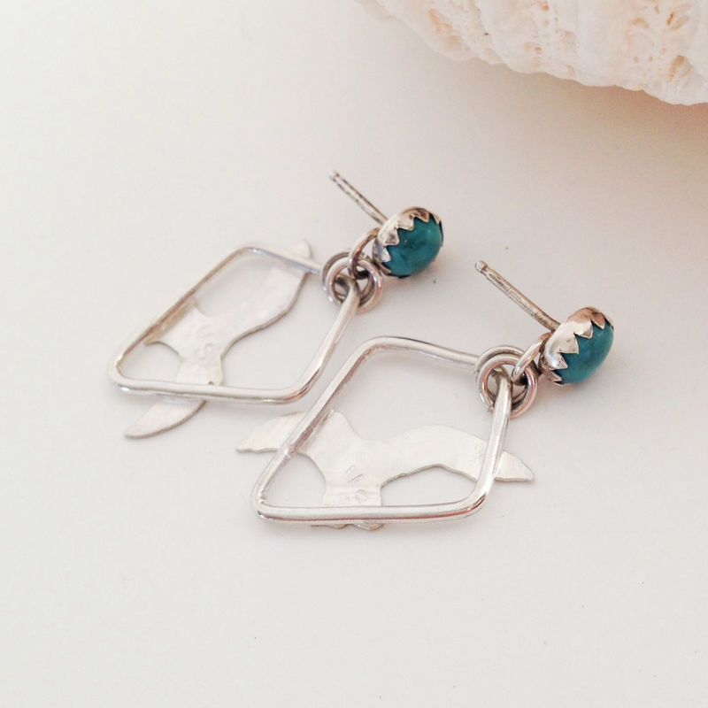 Sterling Silver Bird Earrings Turquoise Seagull Dangles - product images  of