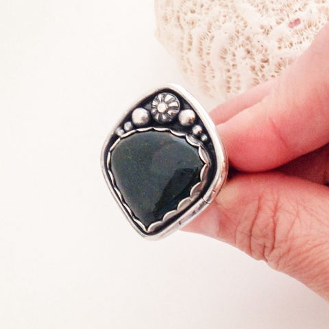 Green Bloodstone Ring Size 8 3/4 Artisan Sterling Tree of Life  - product images  of