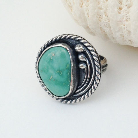 Contemporary,Turquoise,Ring,Size,6,1/2,Freeform,Sterling,Flower,Design,contemporary turquoise ring, modern sterling silver flower ring, hand fabricated sterling turquoise ring