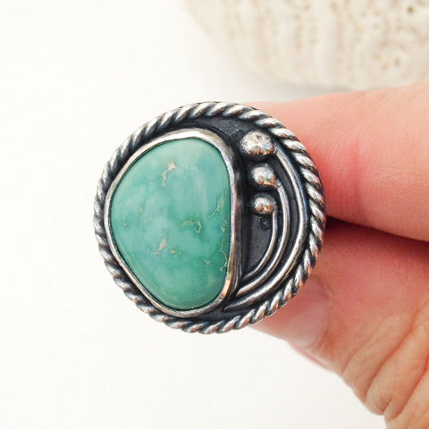 Contemporary Turquoise Ring Size 6 1/2 Freeform Sterling Flower Design - product images  of