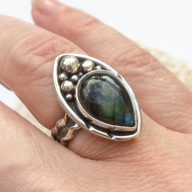 Blue Labradorite Ring Size 6 1/2 Sterling Silver Nautical Theme - product images  of